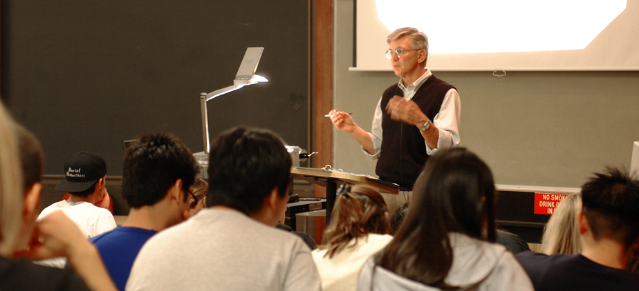 Professor lecturing to students