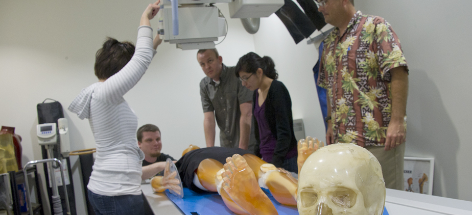 Radiology Instructor and students in lab class