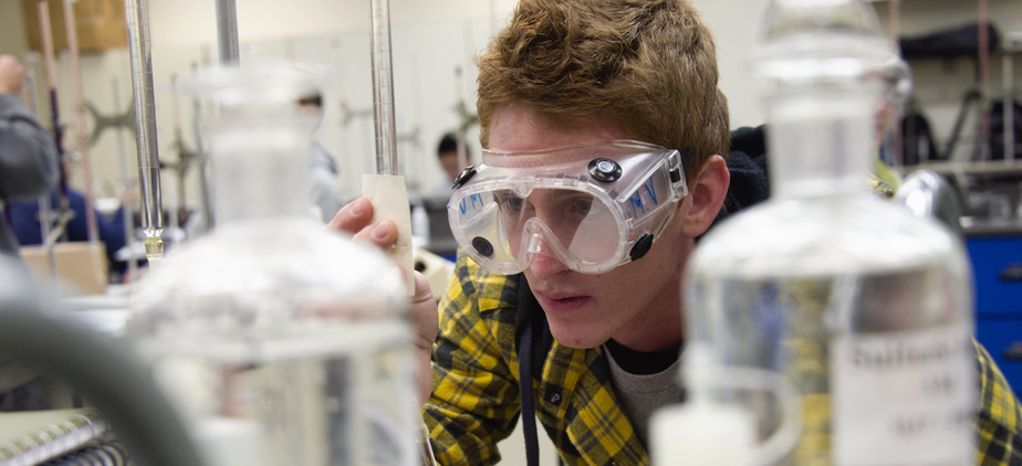 Student in a chemistry lab
