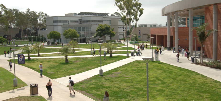 campus view of library and art center