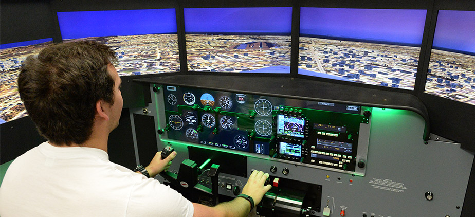 Student in Flight Simulator