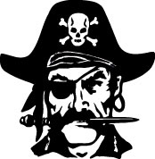 Pirate Mascot black and white